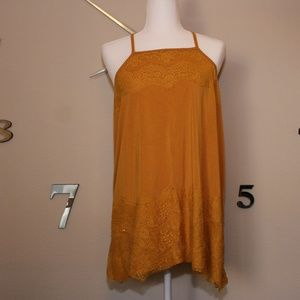 Torrid mustard yellow tunic top with lace size 2